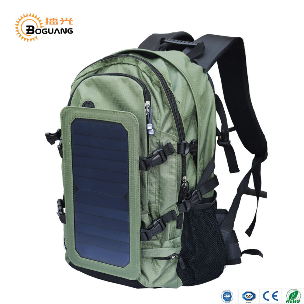 BOGUANG Solar Backpack Khaki Solar Power with Solar Panel Bottle Bag Nylon Men and Women Laptop Cycling Climbing Hiking Travel