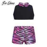 Crianças Zebra-stripe Imprimir Tops de Culturas Sutiã Calções 2 pcs Definido para Meninas Adolescentes Verão Menina Dança Ginásio roupas de ginástica 5-14 anos