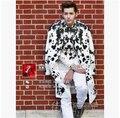 Новый бренд певец DJ право чжи-лонг GD же стиль GVC чернила цветок шоу звезда мужской сценический костюм платье ночные клубы костюмы VSTINUS