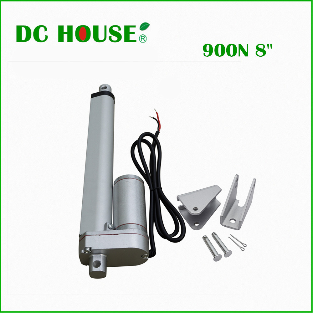 1 PCS 200mm/8inch Stroke Heavy duty DC 12V 900N Load Linear Actuator multi-function 10  Motor with 1 Steel Mounting Brackets 2 pcs 250mm 10inch stroke heavy duty dc 12v 1500n 330lbs load linear actuator multi function 10