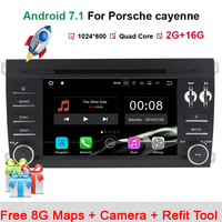 1024X600 Android 7.1.1 Quad Core Car DVD Player for Porsche Cayenne 2003 2010 3G Wifi Stereo System BT A9 1.6GHz CPU 16GB Flash
