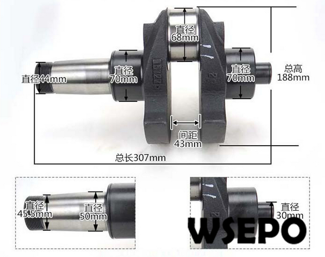 купить OEM Quality! Crankshaft for ZH1110 4 Stroke Small Water Cooled Diesel Engine по цене 3011.81 рублей