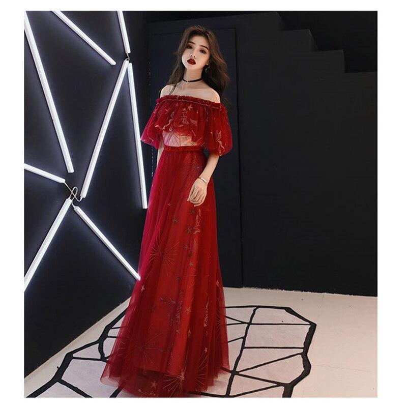 it's YiiYa   Prom     Dress   Off Shoulder Embroid Tulle Long   Dresses   Women Party Night Lace Cape Vestidos de Gala Plus Size 2019 E482