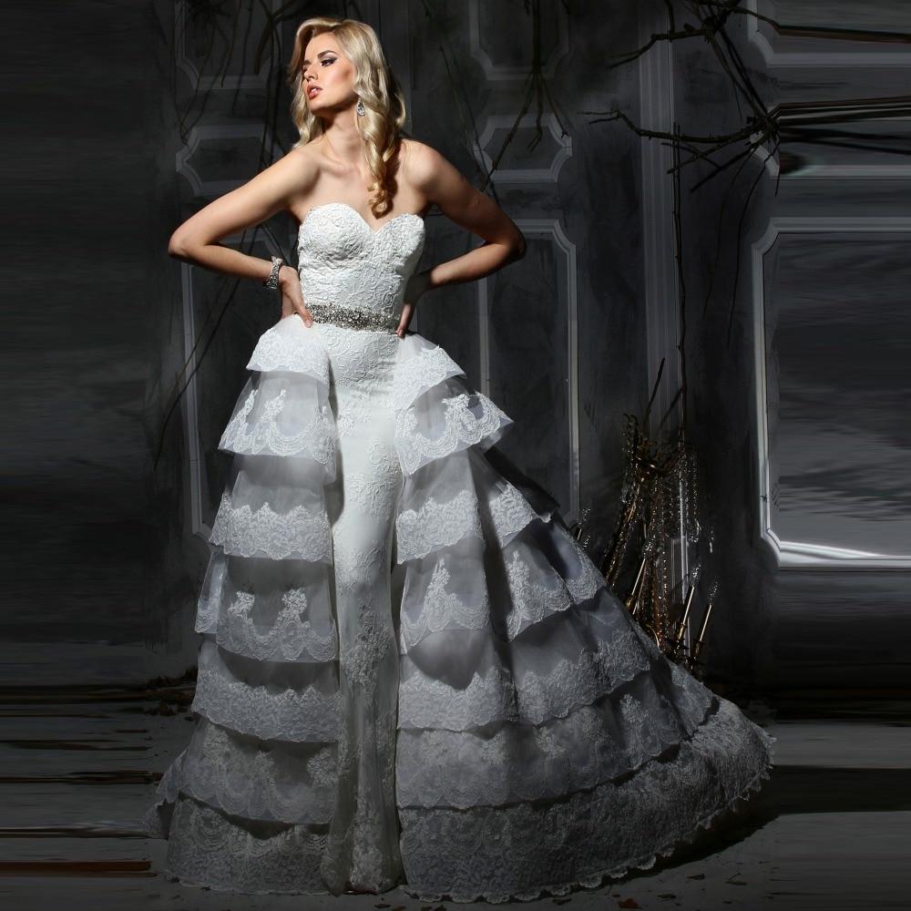 Dresses With Removable Train: 2017 Elegant Strapless Lace Removable Train Detachable
