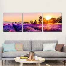 Lavender Field Poster Sunset Purple Landscape Picture Wall Art Painting Romantic Mural Home Decoration No Fram