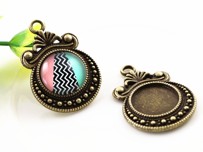 16pcs 12mm Inner Size Antique Bronze Fashion Style Cabochon Base Cameo Setting Charms Pendant (A1-33)