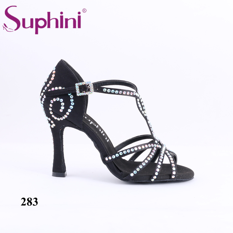 Free Shipping Handmade crystal Women's Salsa Dance Shoes Great Performance Diamond Suphini Latin Dance Shoes free shipping suphini customized salsa dance shoes special lady ballroom latin dance shoes