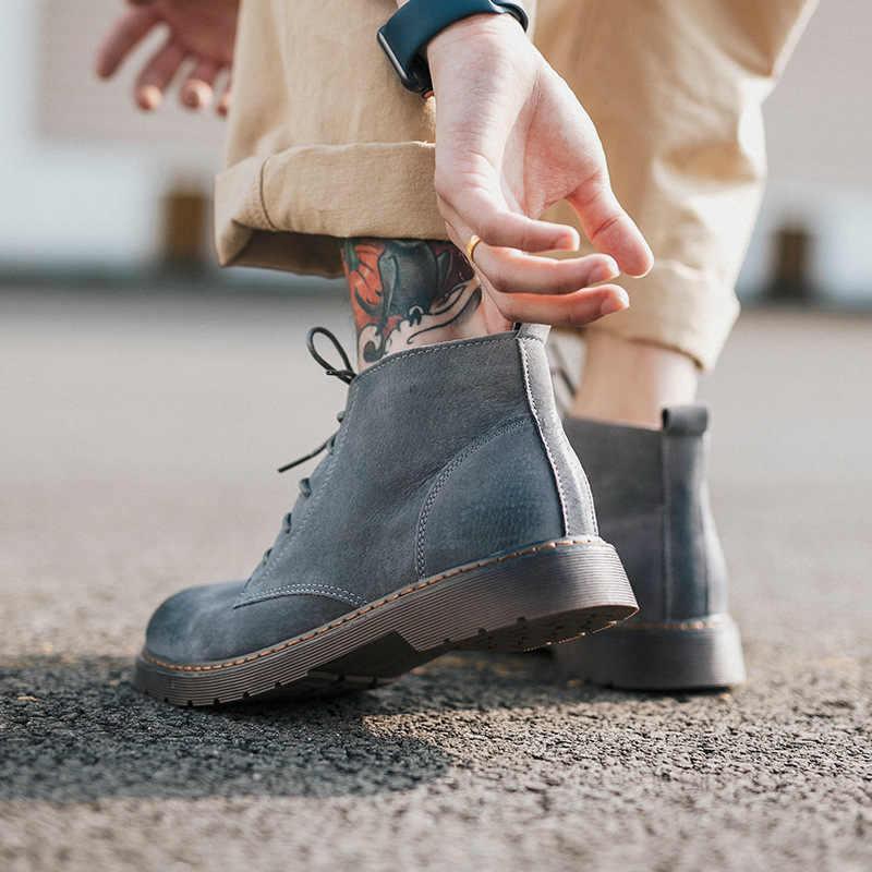 Erkek botları kış sıcak artı kadife deri domuz derisi erkek botları H-676