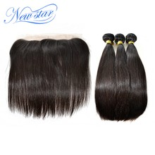 Brazilian Straight Virgin Hair Pre Plucked 13x4 Lace Frontal Closure With 3 Bundles Thick Hair Weaving Unprocessed New Star Hair(China)