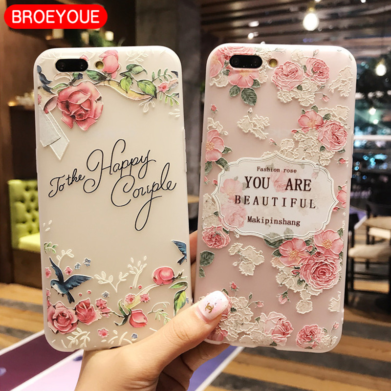 BROEYOUE Soft TPU Phone Case For OPPO R9S R9 R11 R11S Plus Matte Silicone Back Cover 3D Relief Flower Case For OPPO A59 A57
