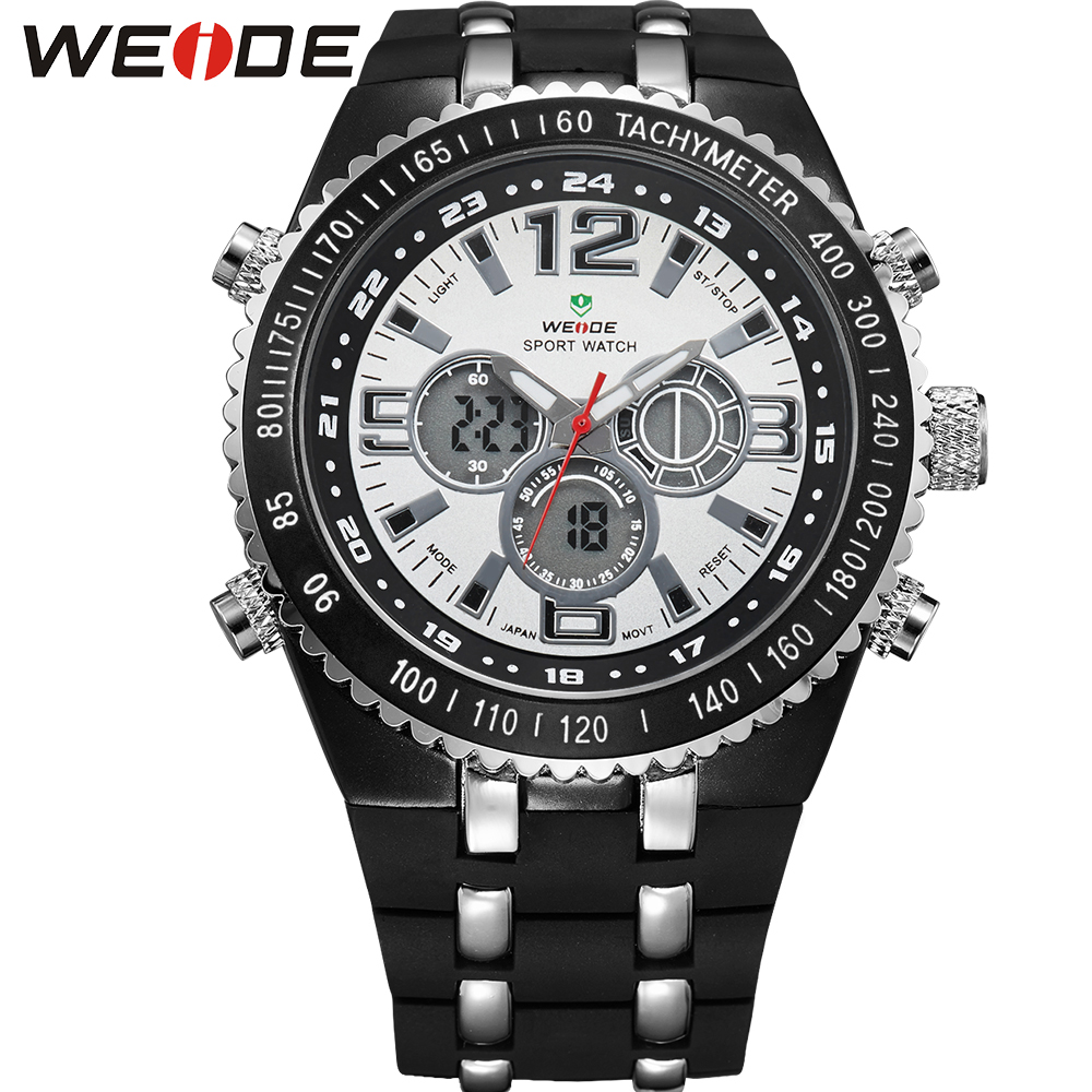 ФОТО WEIDE Fashion Brand Running Waterproof Sport Watches For Men Analog Digital Display PU Band Quartz Movement Wrist Watch