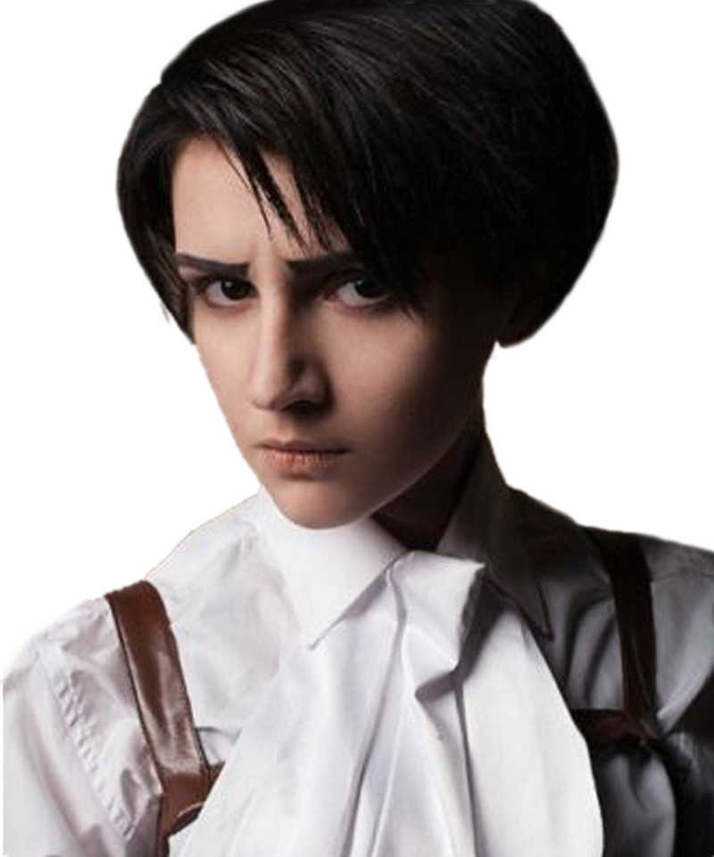 Attack on Titan Levi Ackerman Rivai Short Brown Mixed Hair Heat Resistant Cosplay Costume Wig + Track + Wig Cap
