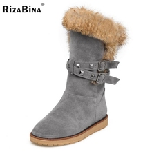 RizaBina Women Winter Snow Boot Russia New Female Thick Plush Round Toe Half Short Boots Buckle Strap Shoes Woman Size 34-39