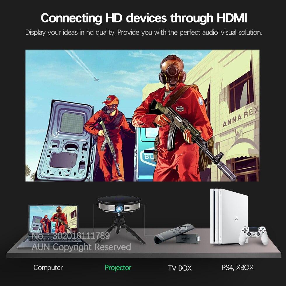 AUN 300 pouces Projecteur, 2G + 16G, 12000 batterie mah, 1280x720 P, d8S Android WIFI. Portable 3D mini projecteur led. soutien 1080 P 4 K - 4