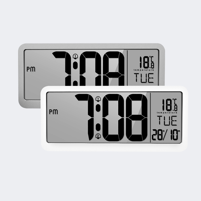 Portable Battery Powered Digital Wall Clock With 2 Alarm Settings, Adjustable Volume, Large Screen Display Time