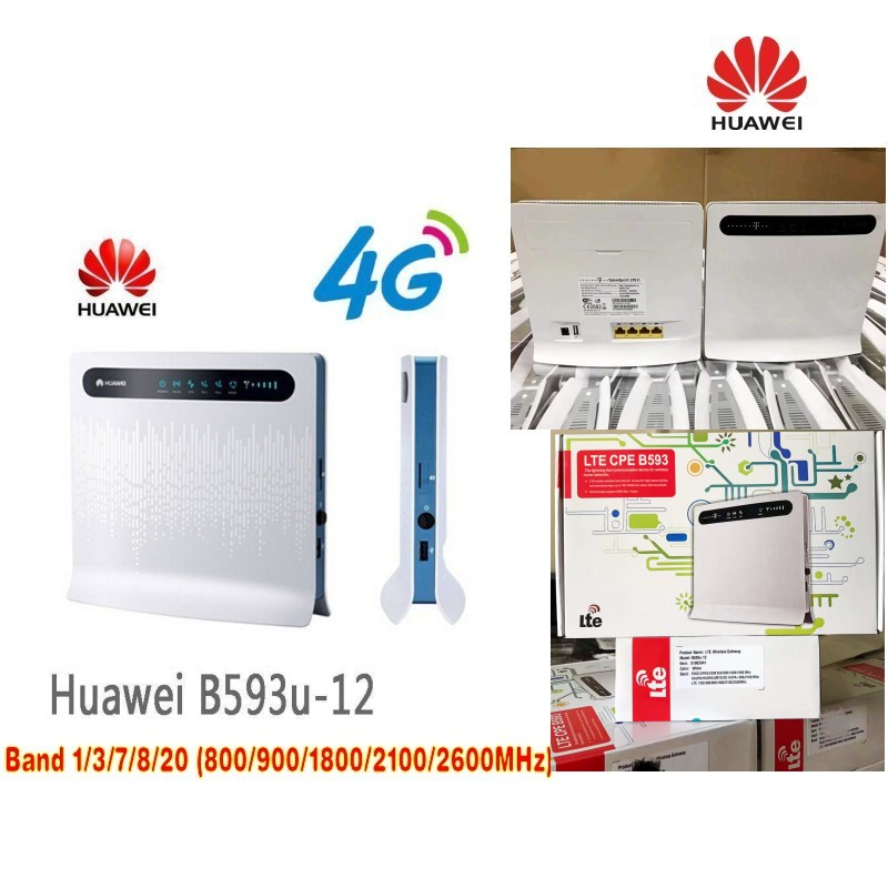 Unlocked Huawei B593 B593u-12 +2pcs Antenna 4G LTE 100Mbps CPE Router With Sim Card Slot 4G LTE WiFi Router With 4 Lan Port