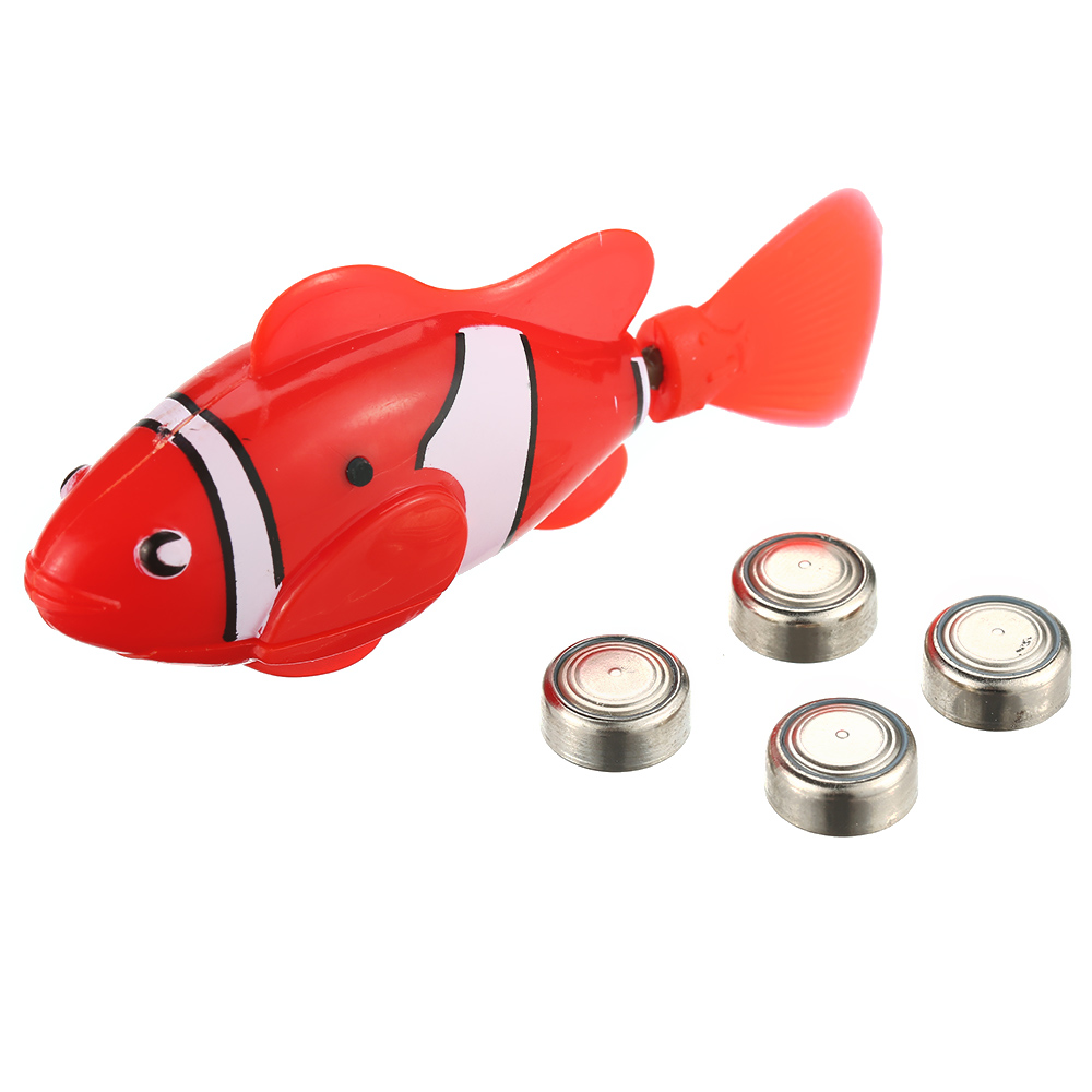 Kids Water Toys 10 Colors Battery Powered Robo Toy Activated Electronic Fish Robotic Pet Cute Fun Robofish P30 6 color funny water electronic robo fish activated battery power robo bath toy fish robotic pet for fishing tank decor fish toy