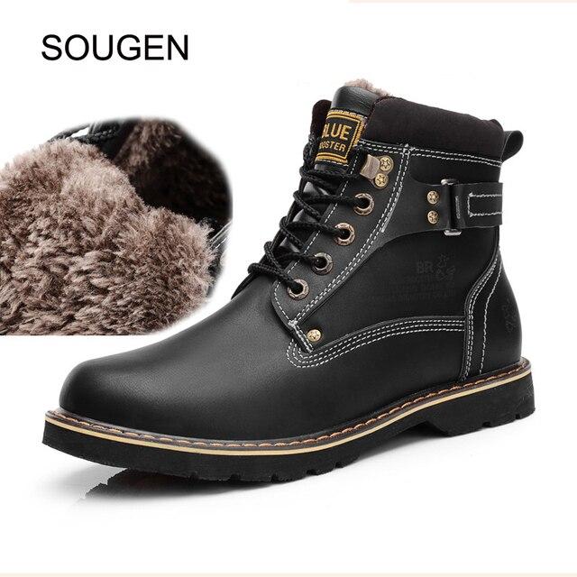 Sougen Genuinos de Invierno de Cuero Para Hombre Botas de Trabajo Zapatos de Los Hombres de Invierno Caliente Con la Piel Impermeable Militar Negro Del Tobillo de la Nieve Botas de Los Hombres