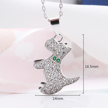 925 Silver Necklaces Women Lively Lovable Puppy and Shiny Small Zircon Necklace for Fashion Jewelry
