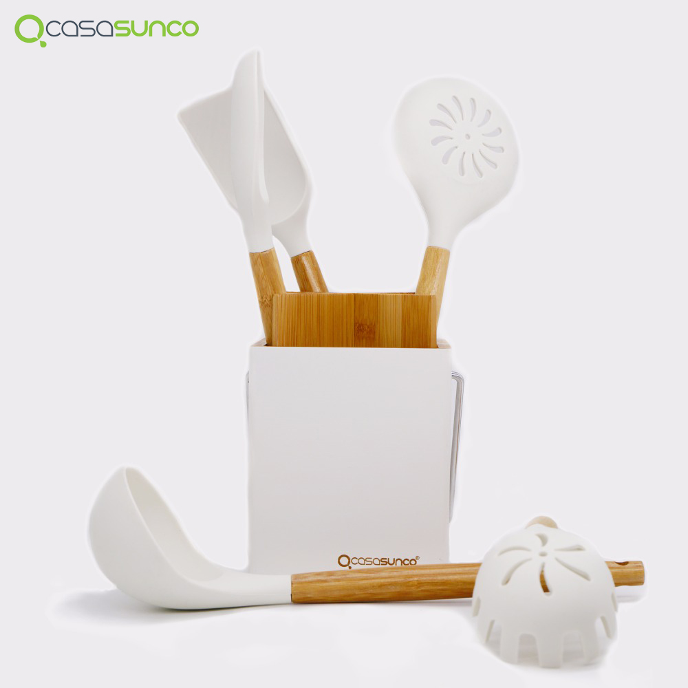 US $33.32 |Kitchen Utensil Set With Holder Beech Wood & Silicone Heat  Resistant Non stick Kitchen Utensil Skimmer Spoon Ladle By CASASUNCO-in  Cooking ...
