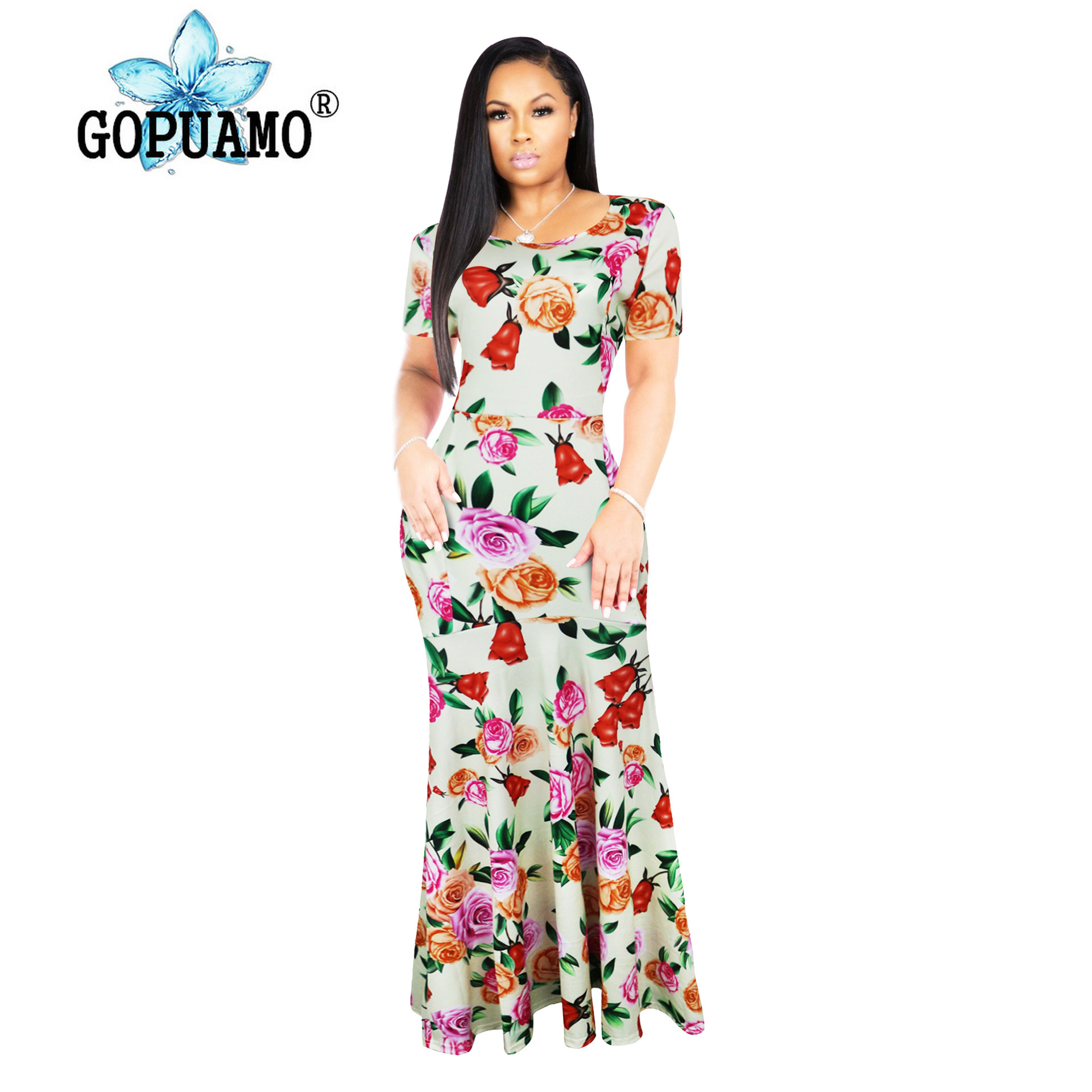 High 2019S-5xlquality New Fashion Designer Maxi Dress Women's Half Sleeve Deep V Neck Printed Celebrity Party Long Dress