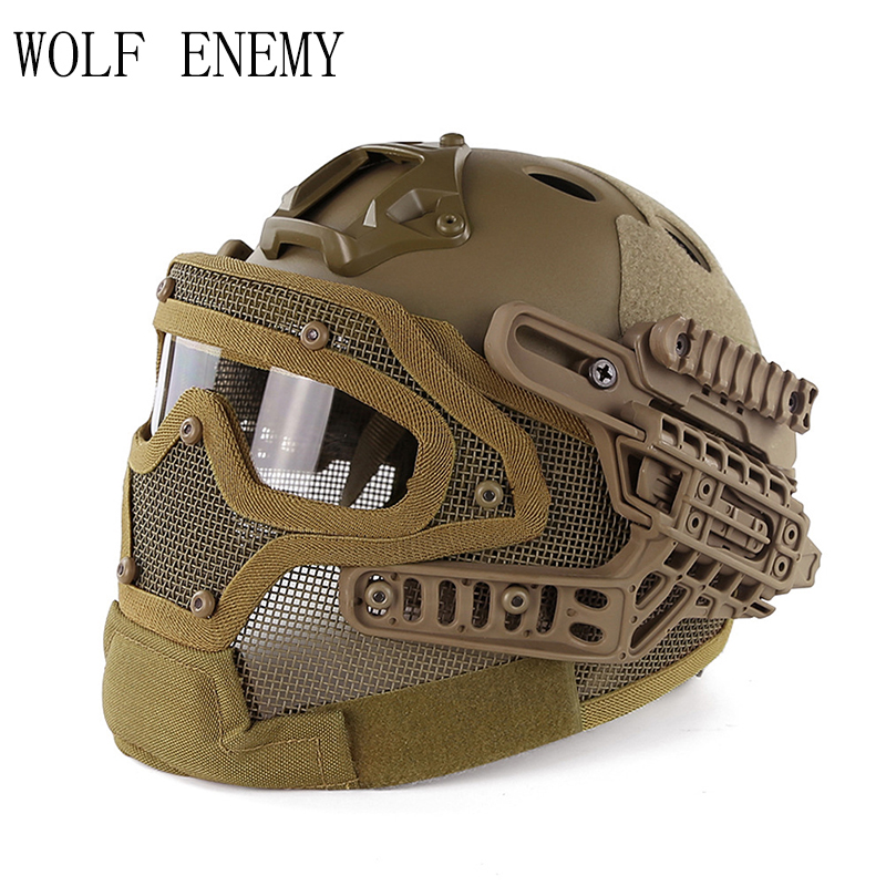 Tactical Helmet BJ PJ MH ABS Mask with Goggles for Military Airsoft Army Paintball WarGame Motorcycle Cycling Hunting tactical wargame motorcycling helmet w eye protection glasses black size l7
