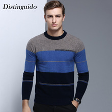 Fashion O-Neck Collar Knitting Long Sleeves Pullovers 100% Wool Spring Winter Smart Casual Men's Sweater MSW056