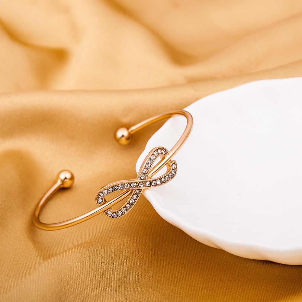 Infinity Charm Bangles Rhinestone Trang Sức Vàng Bạc Plated Pha Lê Vòng Tay Cuff Mở Kim Loại Rỗng Phụ Nữ Người Đàn Ông Phụ Kiện