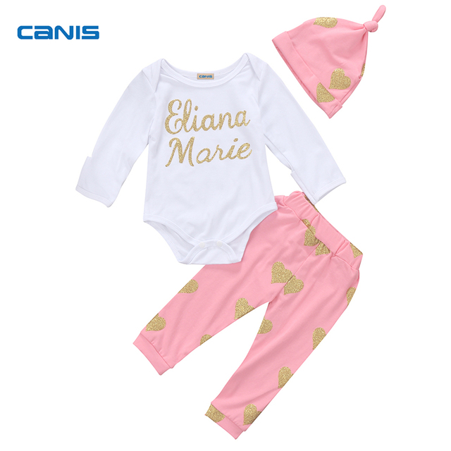 483442631747 3PCS Set Newborn Baby Girl Clothing Long Leeve Letter Romper +Long Sequined  Love Heart Pants