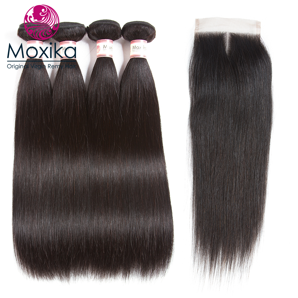 100 4X4 Lace Closure With 3 bundles Brazilian Straight hair Weave Bundles With Clsoure Remy Human