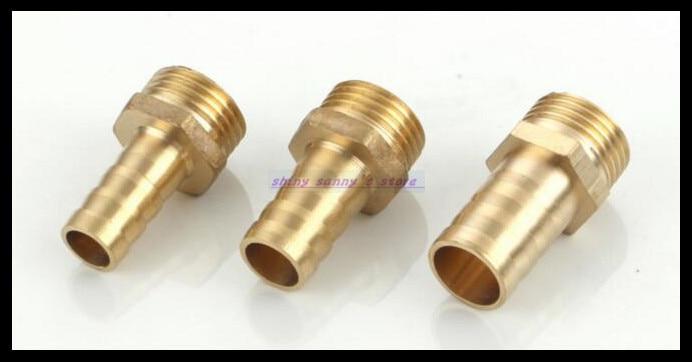 30Pcs/Lot  BG12-01 12mm-1/8 BSP Male Barbs Hose Brass Adapter Coupler 15pcs lot 8 03 8mm 3 8 bsp 2 ways male barbs elbow hose brass pipe adapter coupler