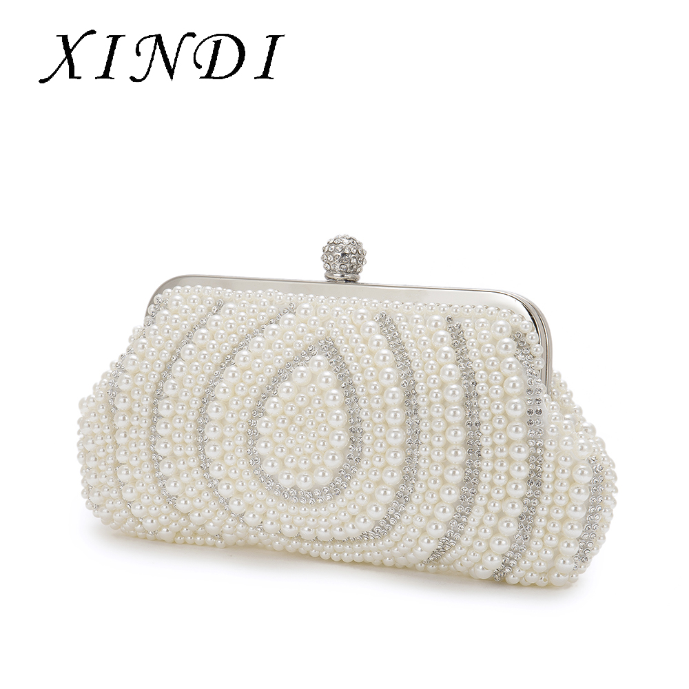Luxury Rhinestone Pearl Beading Bags Water droplets Shaped Evening Bag Chain Clutch Purse Bridal Wedding Clutches HandBag pearl beading tailered blazer