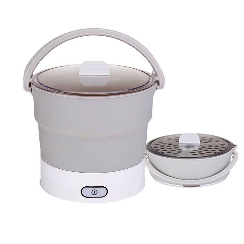 220V Folding Electric Kettle Skillet Heated Food Container Heated Lunch Box Cooker Portable Hot Pot Cooking Tea Water Boiler