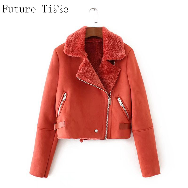 Future Time Faux Leather Suede Coat Aviator Leather Jacket Winter Coat Lambs Wool Fur Collar Suede Jackets Shearling Coats PU049
