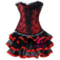 Corzzet Corset Dress,Burlesque Red Jacquard Steel Boned Overbust Corset With Tutu Skirt Plus Size Corset Set