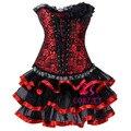 Corzzet Corset Vestido, Burlesque Red Jacquard Plus Size Espartilho de Aço Desossado Overbust Corset Com Saia Tutu Conjunto