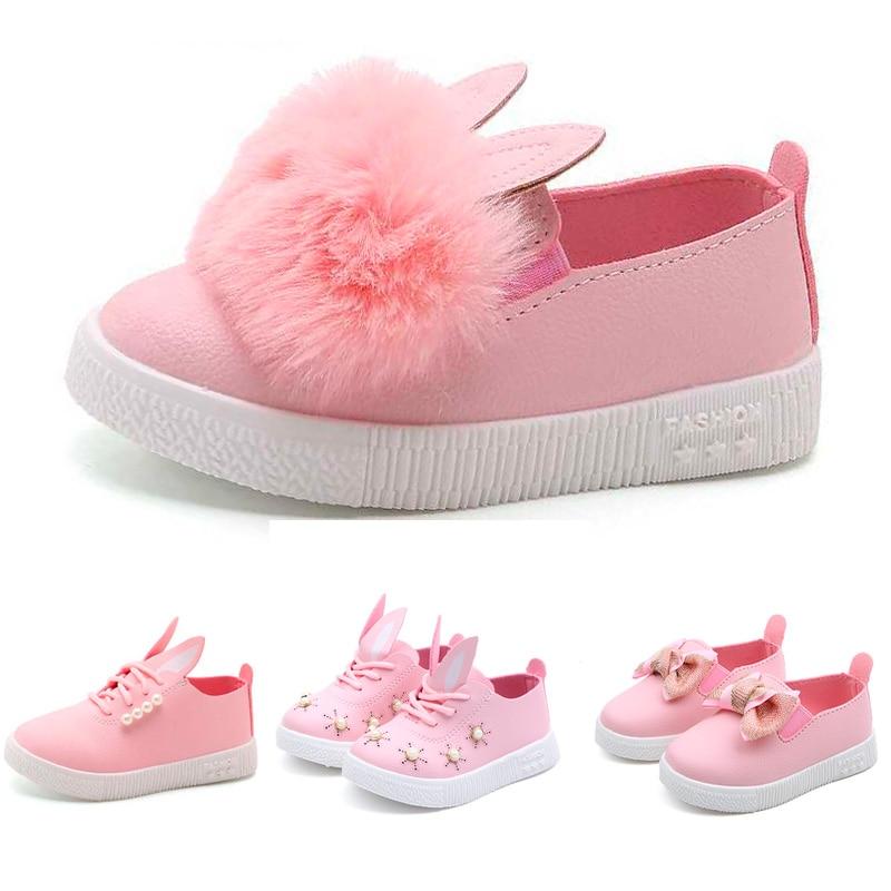 Kids Girls Rabbit Ears Furry Flats Pumps Children Baby Slip On Casual Shoes USA