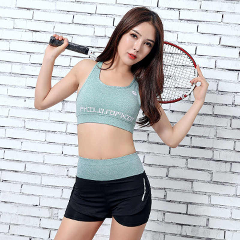 9f38020b7df ... Women Yoga Set Gym Fitness Clothes Tennis Shirt+Pants Running Tight  Jogging Workout Yoga Leggings