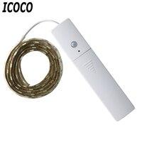 ICOCO водостойкий 60 Светодиодный человеческий корпус инфракрасный индукционный гибкий 5050 лампа дневного света smd 1 м 5 В для ящика шкафа Спальн...