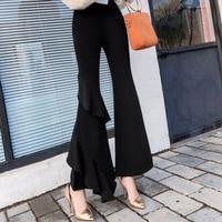 2018 New Thin Bell Bottom Pants Lotus Leaf Stitching Asymmetrical Nine Pants Women's Clothing Women Pants Harajuku