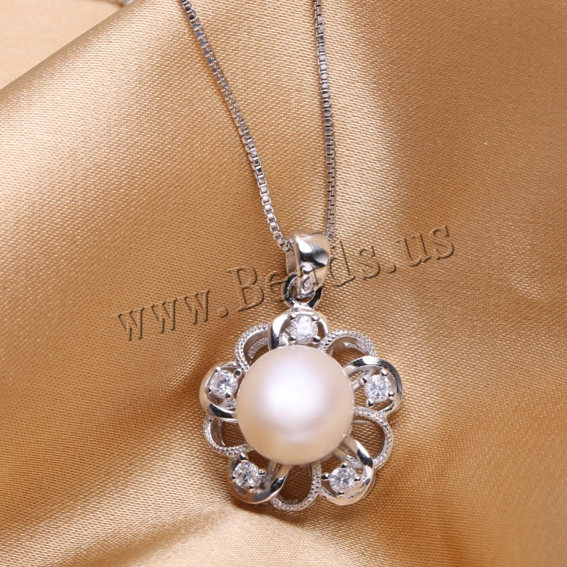 pearl jewelry,sterling silver cultured freshwater Pearl Pendant Necklace Natural real genuine Pearl Silver Pendant купить недорого в Москве