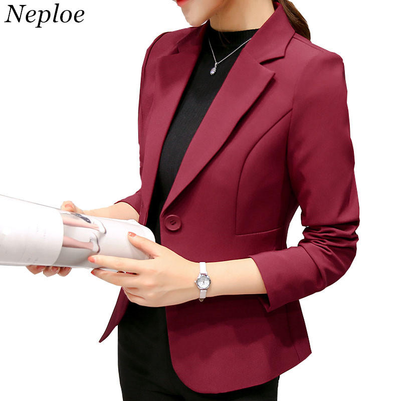 Neploe Pocket Design Blazers Woman Office Wear Coat Autumn Single Button Long Sleeve Solid Jackets Elegant Blazer 33670