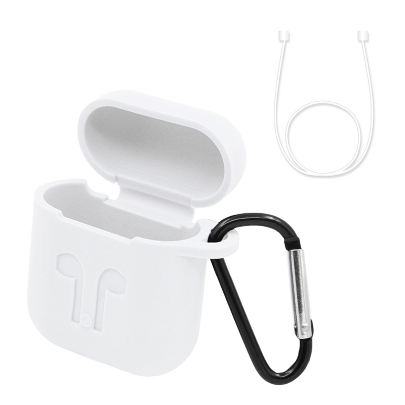 2018 New Pack of 2 Accessories for Apple AirPods Silicone Protective Cover Pouch Case with Anti Lost Strap Keychain Protector