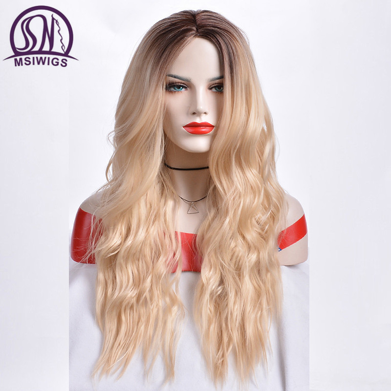 MSIWIGS Long Ombre Blonde Wigs For Women Synthetic Hair Curly Wigs Ashy Grey Natural Root Cosplay Hair Heat Resistant
