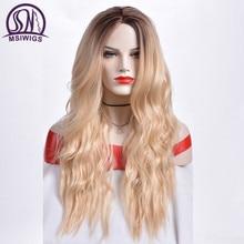 Msiwigs 긴 ombre 금발 가발 여성을위한 합성 머리 곱슬 가발 ashy 회색 자연 루트 코스프레 머리 내열성