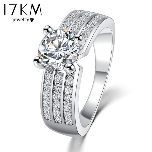 17KM Hot Simple Style Finger Rings Rose Gold Color Zircon Fashion Jewelry Crysta