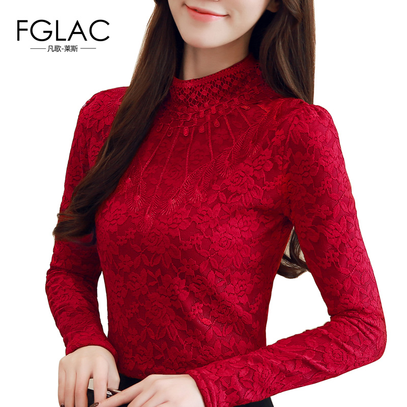 FGLAC 5XL women's   blouse     shirt   Fashion long sleeve Turtleneck Cashmere Thicken winter lace tops Plus size Casual women tops