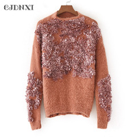 CJDNXI Embroidery Floral Winter Women Sweaters And Pullover Autumn Tricot Jumpers Female Gray Beige Brown Knitted