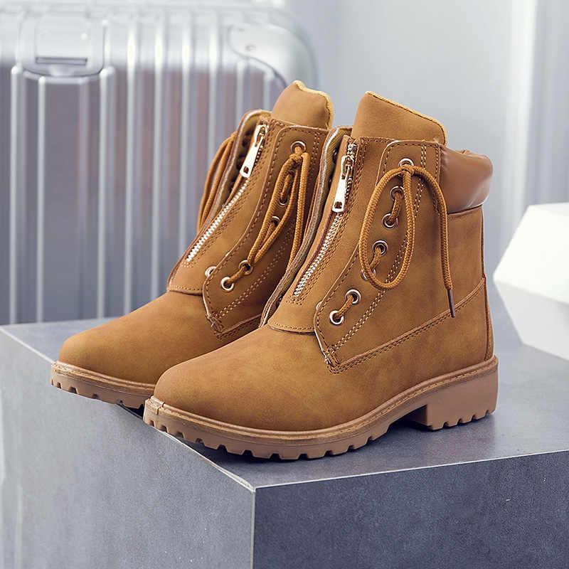 e707f7a68a 2018 New Women boot Autumn Winter Shoes Women Flat Heel Boots Fashion  Women s snow Boots Brand