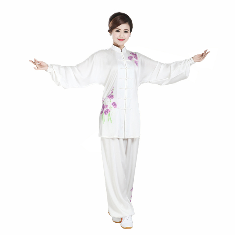Custom Made Womens Girls Rayon Tai Chi Kung Fu Clothing  Painted Taiji Wushu Suits